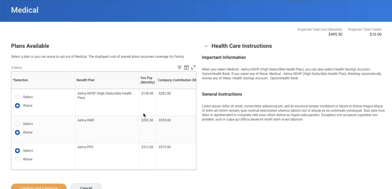 Workday 33 HCM Open Enrollment plan selection