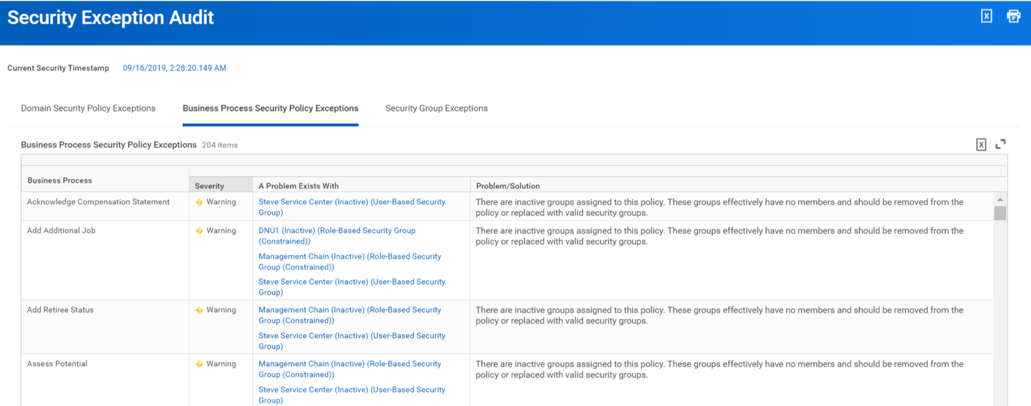 Workday Security Exception Audit report