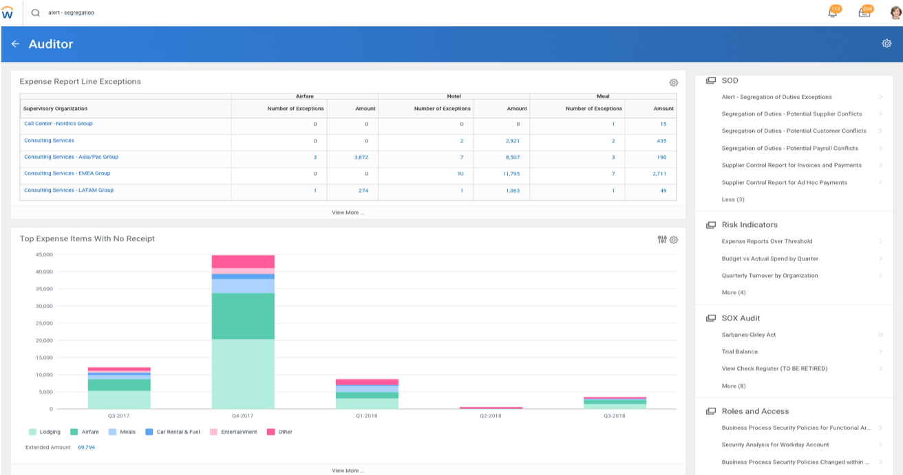 Workday audit dashboard