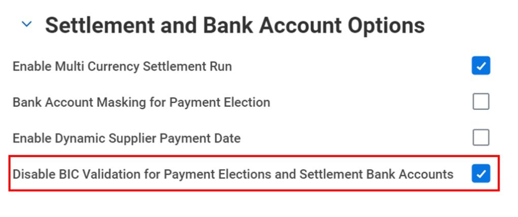 Workday FINS 2020R2 Blog settlement bank account screenshot