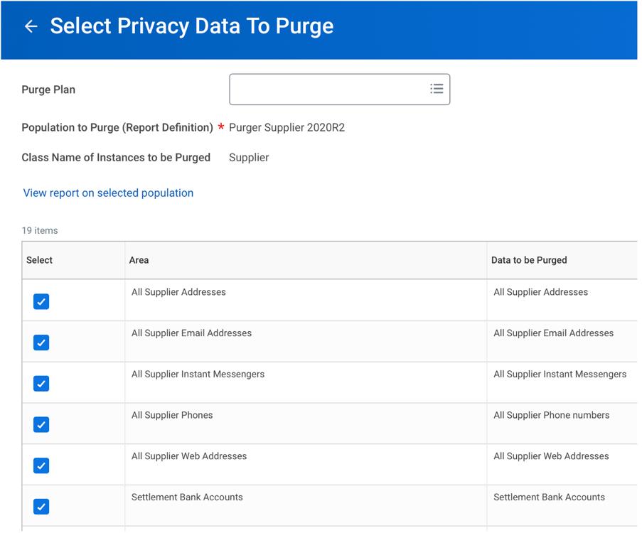 Privacy data purge screenshot