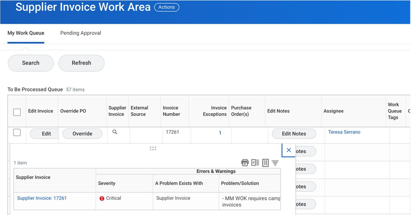 supplier invoice work area screenshot
