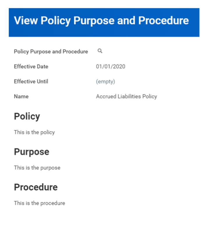 Workday FINS 2020R2 Blog Policy Purpose and Procedure area screenshot