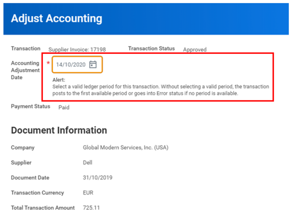 Workday FINS 2020R2 Blog Account Adjustments screenshot