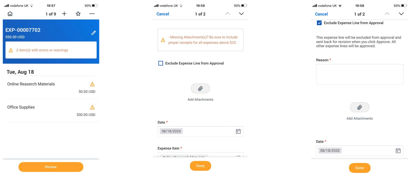 Send Back and Approve Lines in the Same Report screenshot