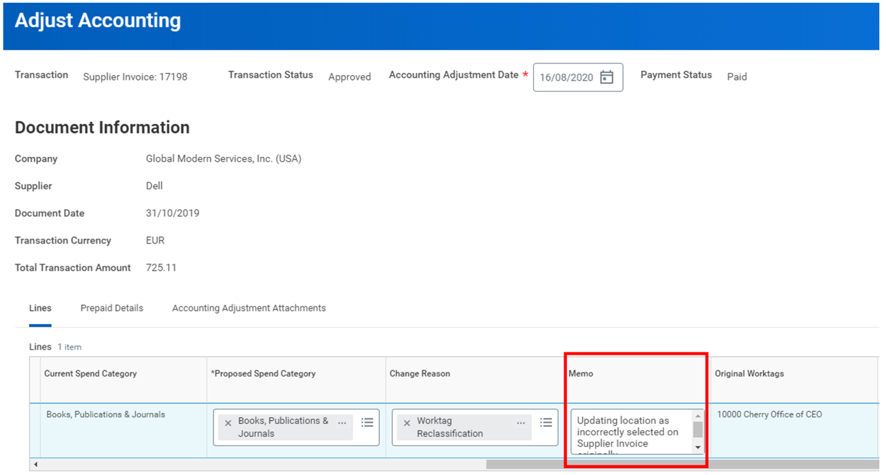 Workday FINS 2020R2 Blog Memo on Operational Transactions screenshot