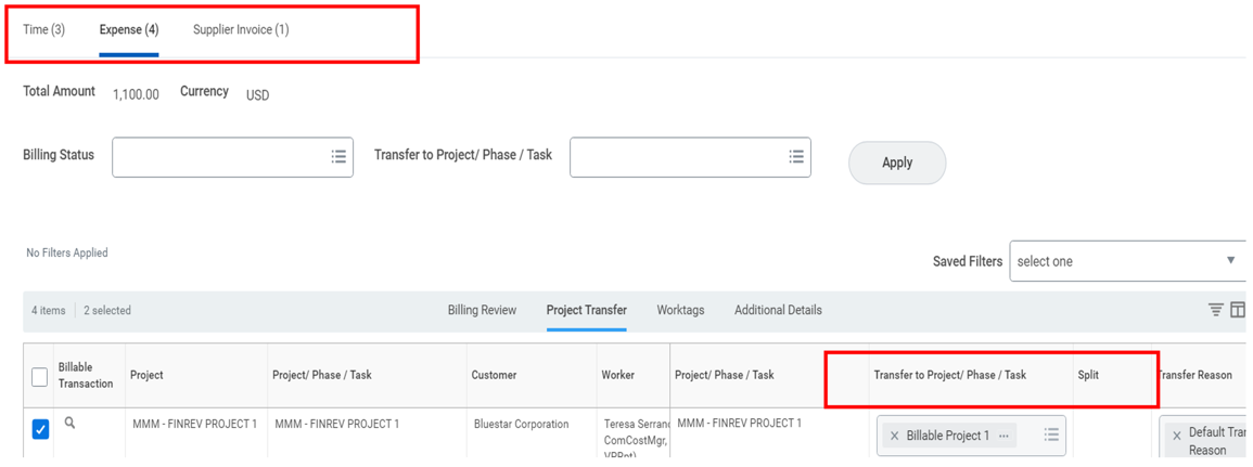 project transactions screenshot