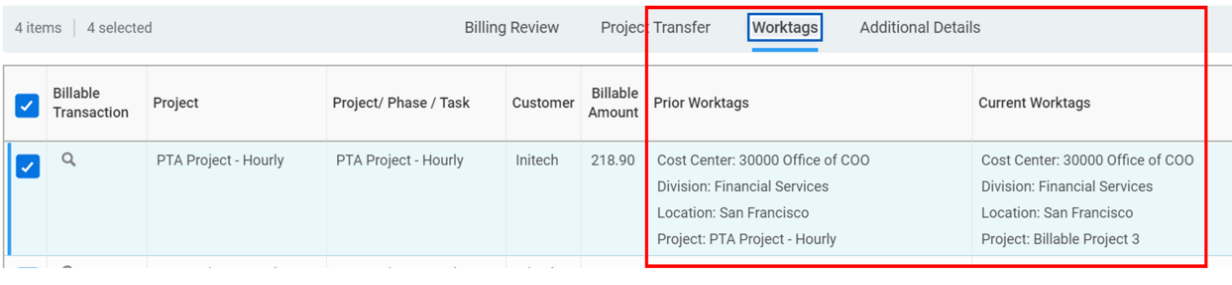 Workday FINS 2020R2 Blog project transactions worktags screenshot