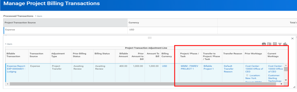 project billing transactions screenshot
