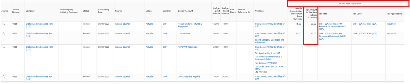 Workday FINS 2020R2 Blog Tax Reporting on Journal Lines screenshot